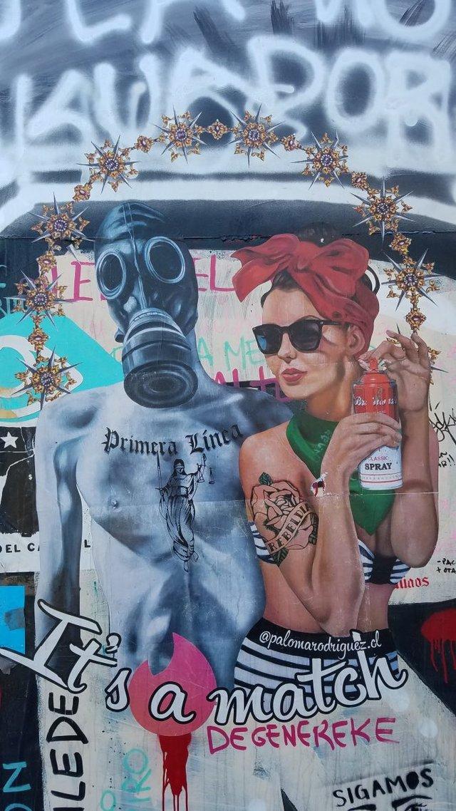 """""""Artivismo"""" en las calles de Santiago. Enero de 2020, autora Paloma Rodriguez (Créditos foto Franck Gaudichaud)"""
